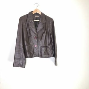 IE Chocolate Brown 100% Leather Jacket ~Large